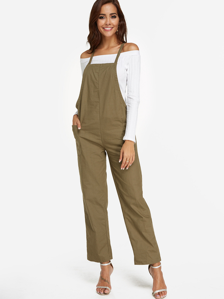Green Side Pockets Plain Square Neck Sleeveless Wide leg Jumpsuits