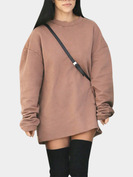 Brown Casual Round neck Long Sleeves Sweatshirt