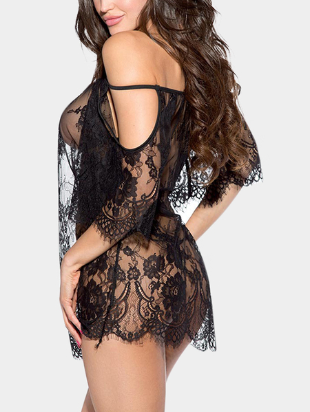 Sexy Cold Shoulder See-through Lace Lingerie In Black