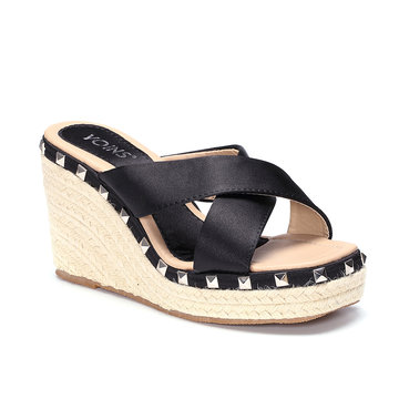 Black Cross Front Rivet Embellished Wedge Slippers