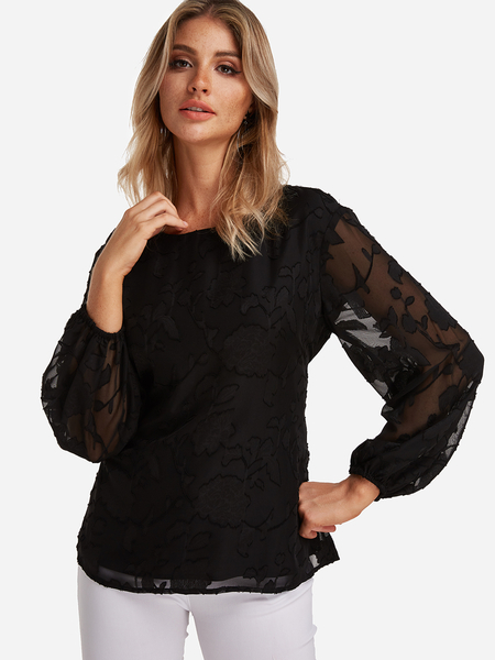 Black Lace Self-tie Design Round Neck Long Sleeves Blouse