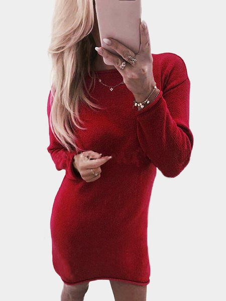 Red Solid Color Round Neck Long Sleeves Sweater Dresses
