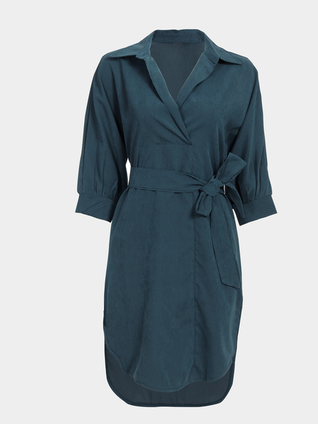 Dark Green Loose Lapel Long Sleeve Shirt Dress