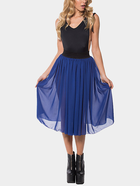 Stretch Waistband Tulle Midi Skirt in Blue