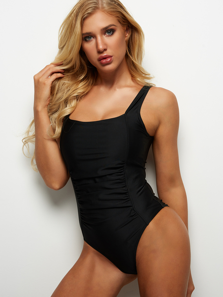 Black Square Neck Pleated Design One-Piece Swimwears
