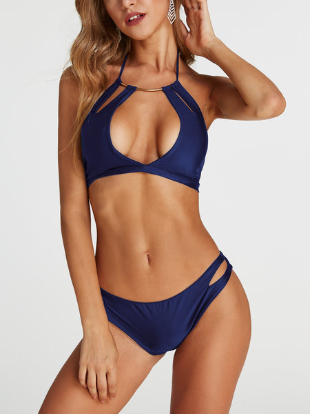 Navy Cut Out V-cou sans manches Maillots de bain