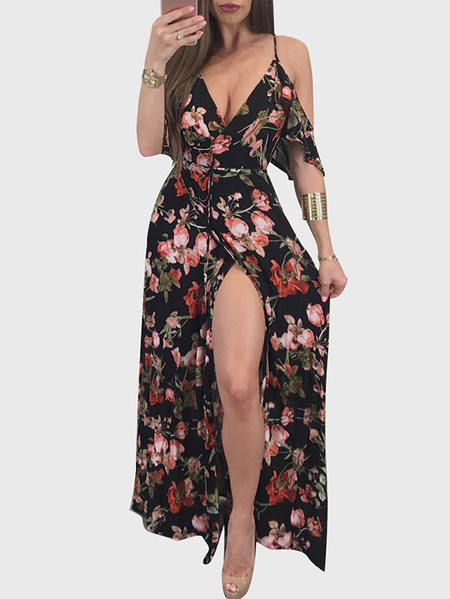 Black Slit Design Random Floral Print Cold Shoulder Dress