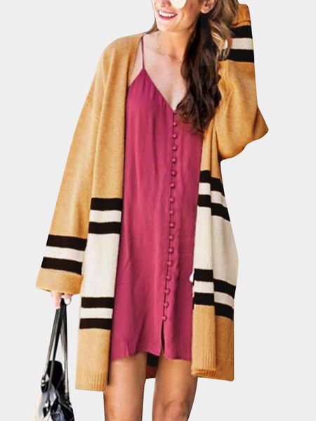 Stripe Pattern Kintting Long Sleeves Loose Cardigans