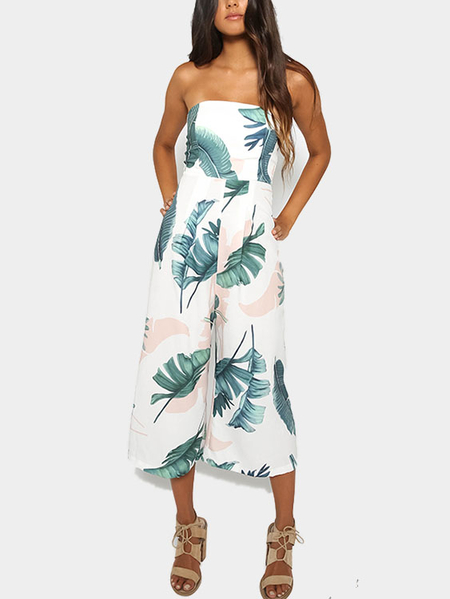 Sexy Off Shoulder Random Floral Print Jumpsuit