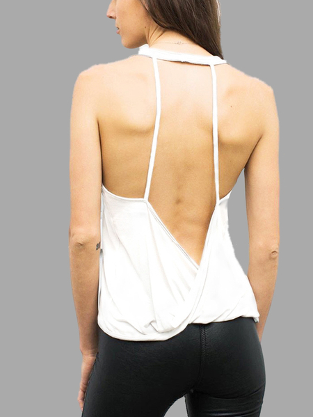 White Rapidry Backless Gym Tank Top