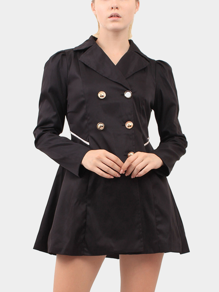 Black High Lapel Collar Coat with Button Embellished