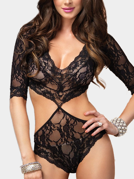 Black Sheer Lace Deep V Neck Half Sleeves Lingerie Sets