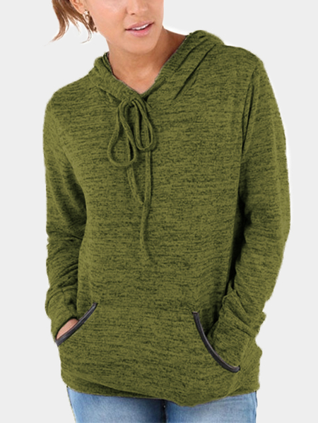 Army Green Front Patch Pocket Long Sleeves Hooded Sweatshirts