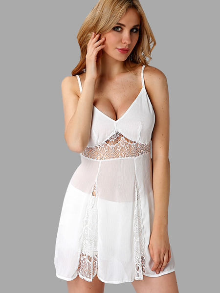 See-through Blanco Backless Delgado hombro encaje vestido de vacaciones [-]] See-through Blanco Backless delgado hombro encaje vestido de vacaciones