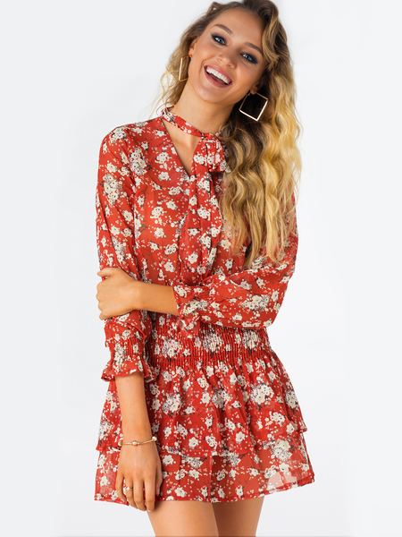 Random Floral Print Lace-up Design V-neck Long Sleeves DRESSES
