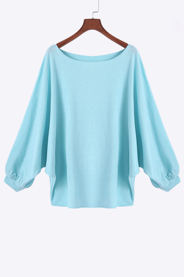 Round Neck Bat Sleeves Sweater