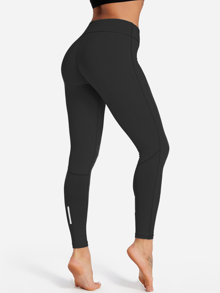 Black Plain High-waisted Bodycon Active Bottoms