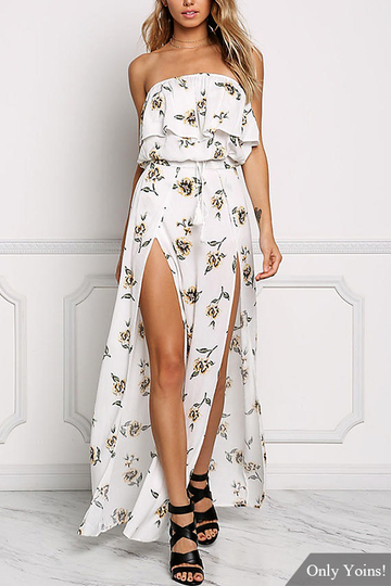 Sexy Strapless Floral Print Dress In White