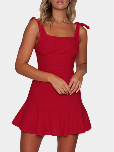 Red Bowknot Design Square Neck Sleeveless Dress