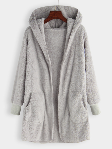 Plus Size Grey Hooded Faux Fur Coat