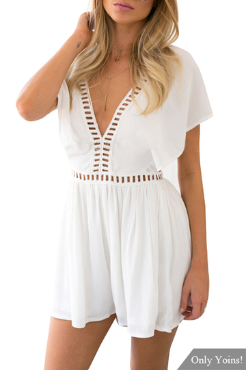 White V-neck Hollow Out Playsuit