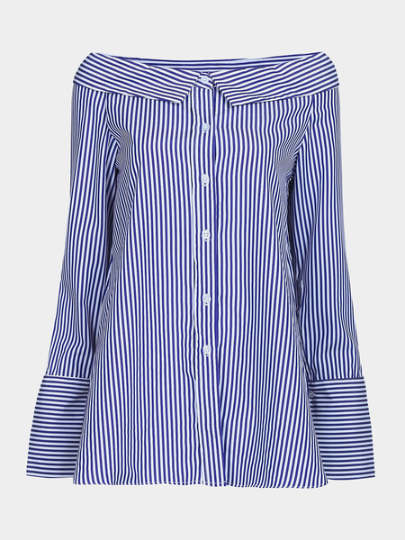 Loose Off Shoulder Stripe Pattern Button Front Shirt
