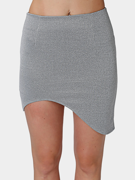 Grey Irregular Hem Mini Bodycon Skirt