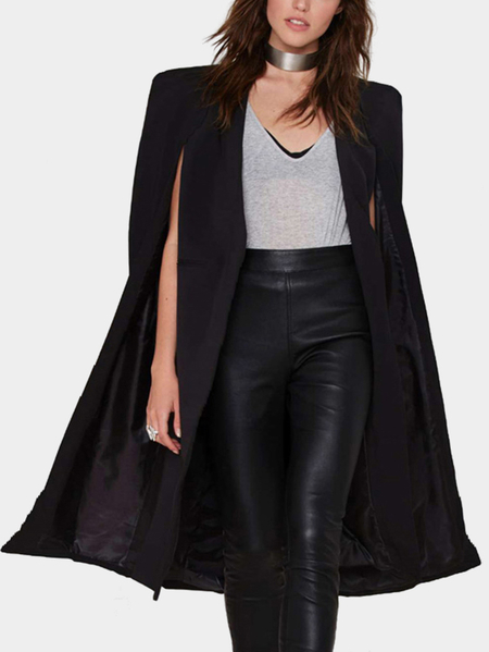 Black Cape Design Longline Buttonless Blazer Coat
