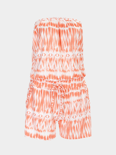 Orange Off The Shoulder Drawstring Waist Printed Playsuit