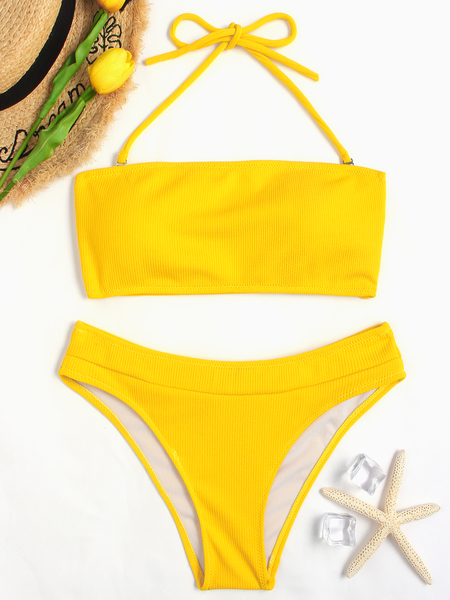Yellow Tube Top Halter Bikin Set