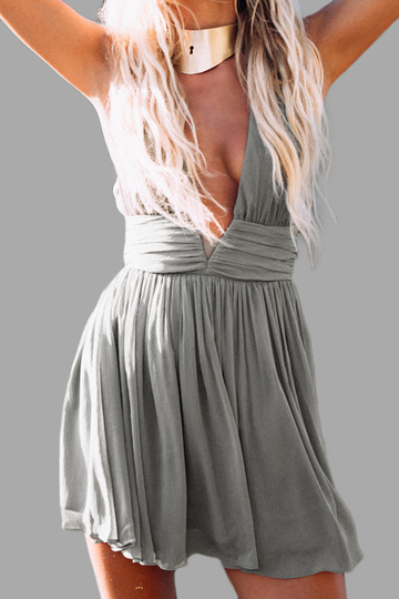 Gray Halter Deep V Neck Backless Mini Dresses with Ruffle Design
