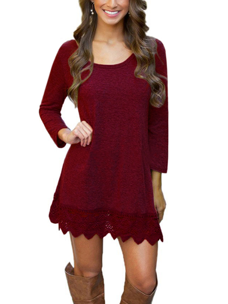 Burgundy Casual Round Neck Long Sleeves Lace Scallop Hem Mini Dress