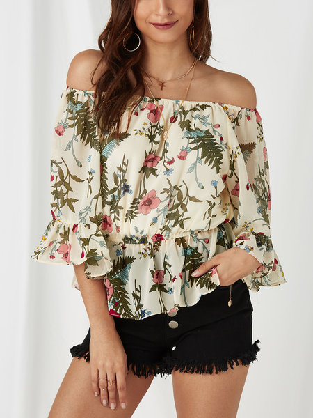 Beige Floral Print Off The Shoulder Flared Sleeves Top