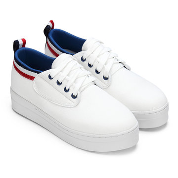 White Causal Style Ribbon Sneakers