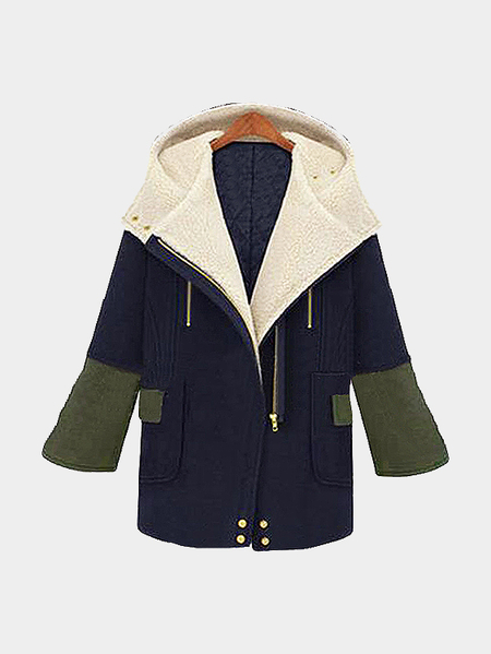 Blue Collage Hooded Zipper Thicken Casual Outerwear