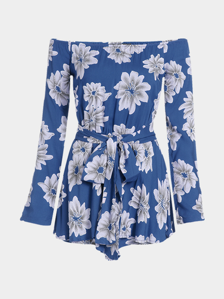 Random Floral Print Off Shoulder Playsuit with Belt Tie