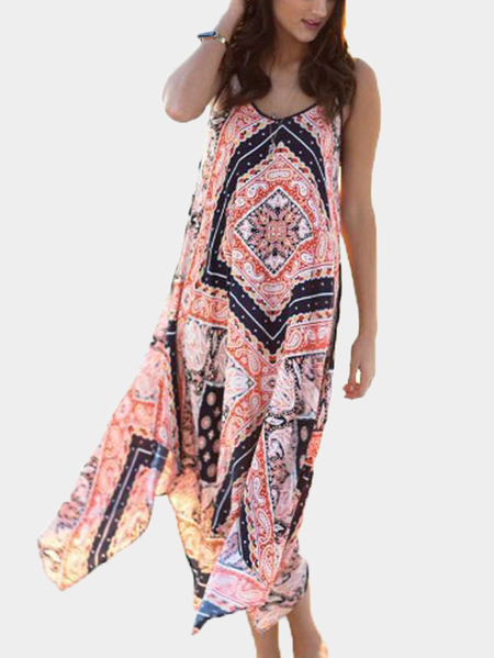 Bohemian Print Irregular Cami Beach Dress