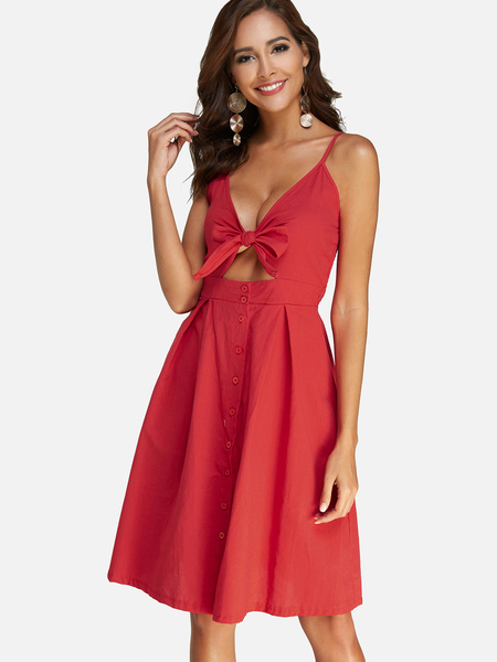 Red Bowknot Cut-out Design V-neck Sleeveless Dress