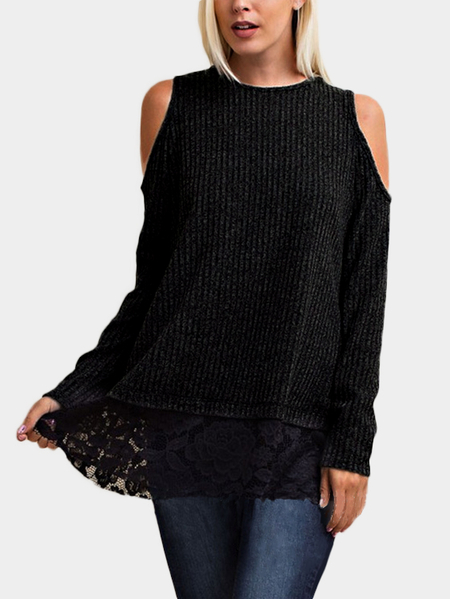 Black Lace Details Cold Shoulder Causal Long Sleeves T-shirt