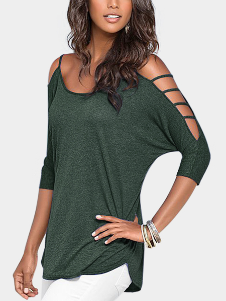Army Green Cold Shoulder 3/4 Length Sleeve T-shirt with Strappy Detail