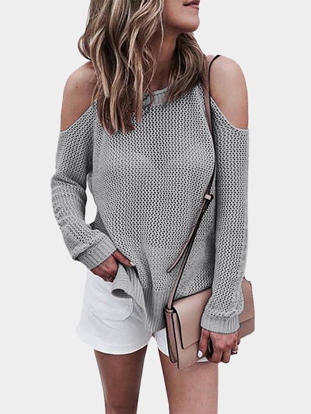 Grey Cold shoulder Long Sleeves Knitwear with Side Slit