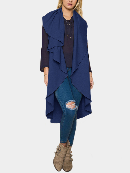 Blue Plain Lapel Collar Sleeveless Trench Coat