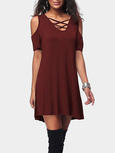 Burgundy Cold Shoulder V-neck Mini Dress