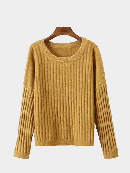 Khaki Loose Ribbed Knit Jumper