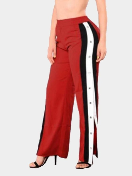 Active Wide Leg Deep Side Slit Design High Waist Sport Pants in Red