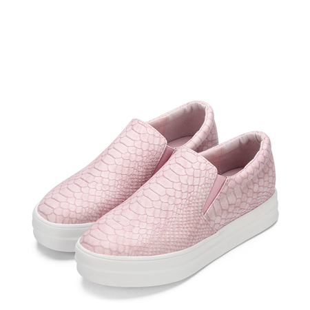 Pink Snake Print Round Toe Slip-on Platform Loafers
