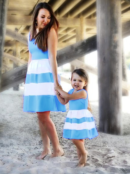 Blue Stripe Round Neck Sleeveless Mommy And Me Dresses