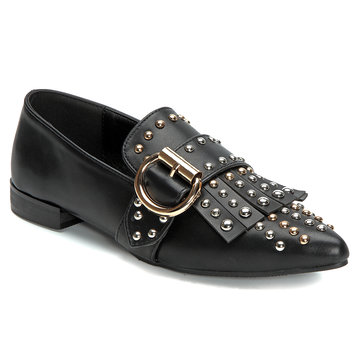 Black Rivet Embellished Pointed Toe Flats with Tassel Embellished