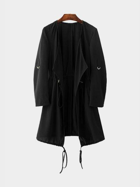 Black Chiffon Trench Outwear With Drawstring Waist