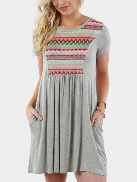 Grey Casual Wave Print Mini Dress